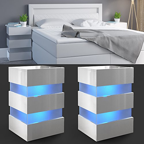 2x nachttisch set led 70cm hoch f r boxspringbett wei hochglanz nachtkommode nachtschrank. Black Bedroom Furniture Sets. Home Design Ideas