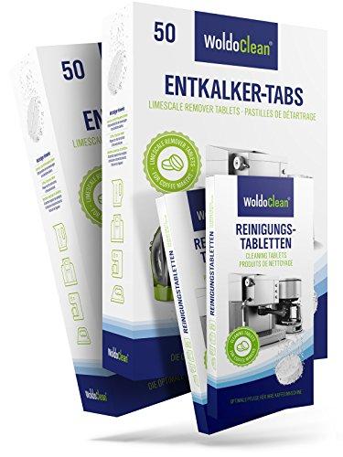 Reinigungset für Kaffeevollautomaten Reinigungstabletten & Entkalkungstabletten - 100x Entkalkertabletten a 16g pro Tablette und 20x Reinigungstabs
