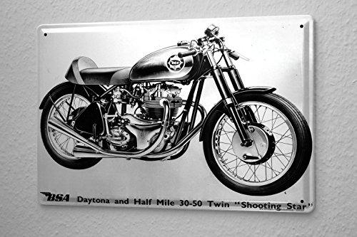 Blechschild Motorrad Garage BSA Shooting Star Wand Deko Schild 20x30 cm
