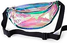 Punky retro del arco iris transparente del holograma de la cintura del monedero del bolso del paquete de Fanny del vago de la muchacha de las mujeres