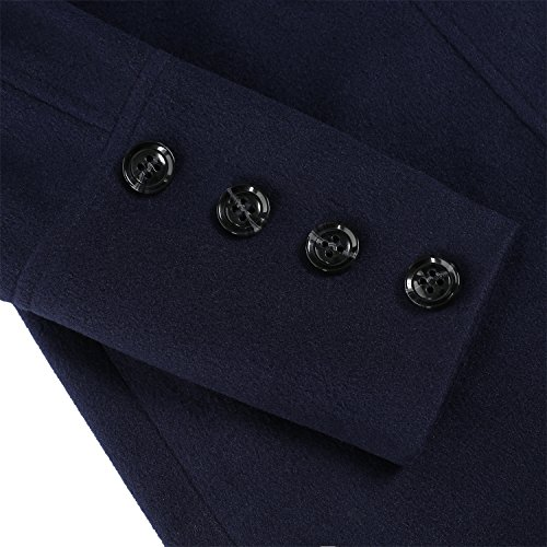 ZEARO Wollmantel Damen Wolljacke Trench Mantel Long Jacket Graben Mantel Parka Outwear Blau