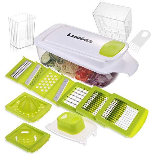 Per salvare il tuo elicottero, pre-tagliare la verdura in un piccolo quarto prima di tagliare. 11 In 1 Set di utensili da cucina versatili Supporta più di 12 funzioni, come sbucciare, tagliare a pezzi, tagliare a pezzi piccoli, tagliare in 4 pezzi ug...