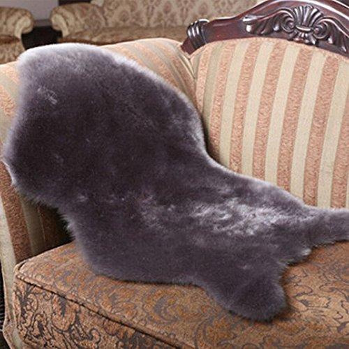 Kicode (Grau Für Wohnzimmer Schlafzimmer Weißer Faux-Schaffell-Teppich -