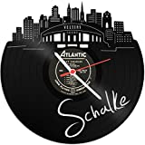 Skyline Schalke 2018 Wanduhr aus Vinyl Schallplattenuhr Upcycling Design Uhr Wand-Deko Vintage-Uhr Wand-Dekoration Retro-Uhr Made in Germany