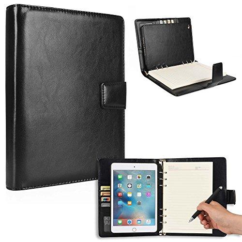 Apple iPad Mini 4 Mappe mit Notizblock, Cooper FOLDERTAB Tabletmappe Ordner Premium Business Links/Rechtshänder Hülle Schutzhülle Planer, Block austauschbar, Fächer (Schwarz)