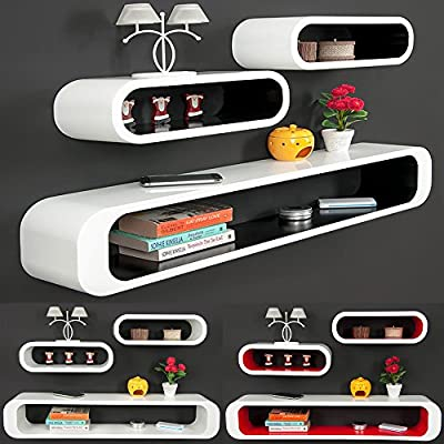 Cube Wall Shelf Set of 3 Retro Design Wall Shelves in different Colors - inexpensive UK light shop.