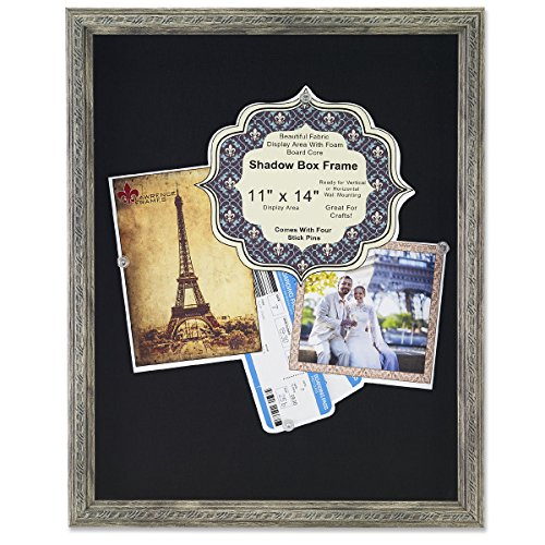 Lawrence Frames Black Linen Display Area Shadow Box Frame with Decorative Classic Design, 11 x 14