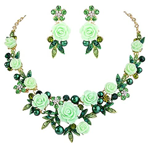 EVER FAITH® Gold-Tone Crystal Simulated Pearl Spring Rose Flower Leaf Necklace Earrings Set Green N07745-8