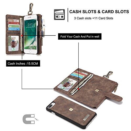 caseme Marke® Case für iPhone 7Multifunktions Wallet Case mit abnehmbare Folio, Premium Echt Leder, magnetische Knöpfe, Reißverschluss, Wallet, iPhone 7 Brown-1