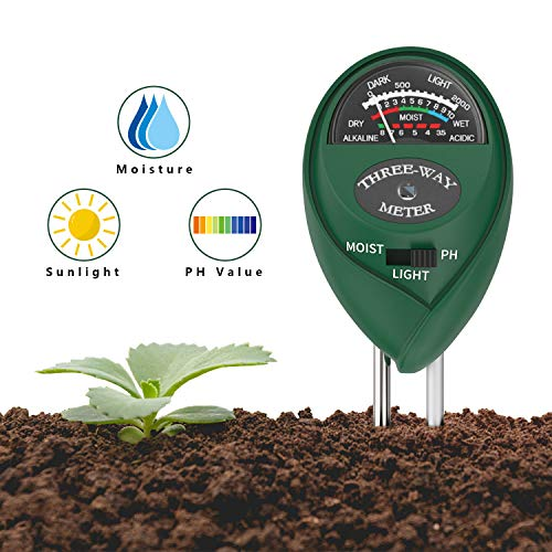 Housolution Bodentester, 3 in 1 Säuretester für Licht, Feuchtigkeit und pH Wert Meter Messung Pflanze Tester Gartengeräte für Garten Pflanzen Erde, Grün