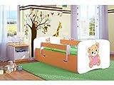 Kocot Kids Kinderbett Jugendbett 70x140 80x160 80x180 Orange mit Rausfallschutz Matratze Schubalde und Lattenrost Kinderbetten für Mädchen und Junge Teddybär mit Herz 140 cm