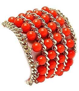 Modeschmuck - Korall & Kettenarmband - Korall -Armband mit Gold-Effekt Panzerkette - Korall Schmuck - Stretch-Armband
