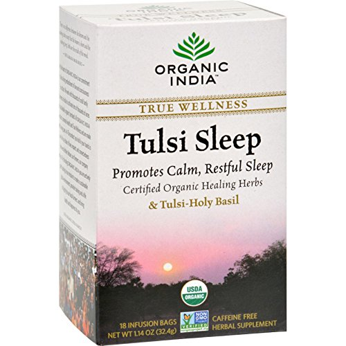 TULSI SLEEP 18 INFUSION BAGS - CAFFEINE FREE - 100%CERTIFIED ORGANIC - ORGANIC INDIA - FIORE D'ORIENTE
