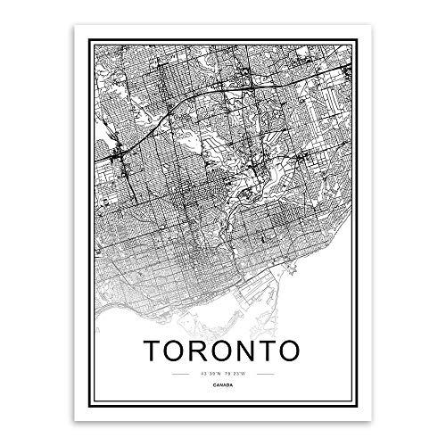 WDQTDW Leinwanddruck Schwarze Und Weiße Welt Stadtplan Toronto Poster Prints Nordic Wohnzimmer Home Decor Wall Kunst Bilder Leinwand Bilder