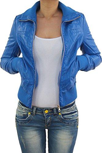 Damen Lederjacke Kunstlederjacke Leder Jacke Damenjacke Jacket Bikerjacke Blouson in vielen Farben S - 4XL Hellblau
