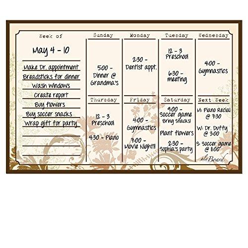 Calendario settimanale magnetico cancellabile, motivo floreale - Dry Erase Calendario