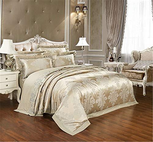 JSHECOVER Sliver Gold-Silk Satin Jacquard Bettbezug Bettwäsche Set Königin King Size Stickerei Spannbettlaken Set Color 6 King 4Pcs Bed Sheet Style