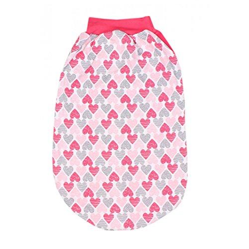 Baby Strampelsack Jungen Schlafsack mit breitem Bund Mädchen Schlupfsack 100% Baumwolle Jersey, Farbe: Herzen Koralle, Größe: 0 - 6 Monate