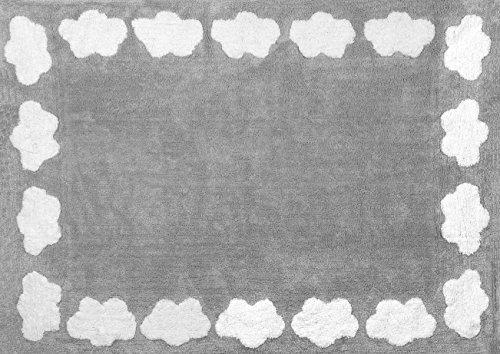 Aratextil Nube Alfombra Infantil, Algodón, Gris, 120x160 cm