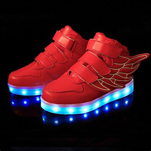 UDreamTime Jungen-Mädchen-LED leuchten blinkende Turnschuhe mit Flügeln Rot