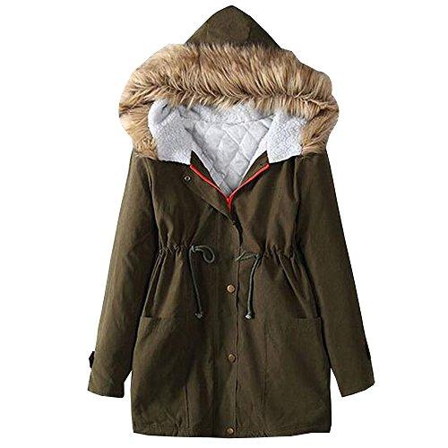 KINDOYO Femme Hiver Coton Long Manteau à Capuche Col de Fourrure Épaisse Hoodies Blouson Pardessus