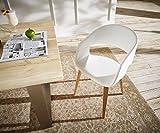Küchenstuhl Naile Weiss mit Armlehne Beine Natur Esszimmerstuhl