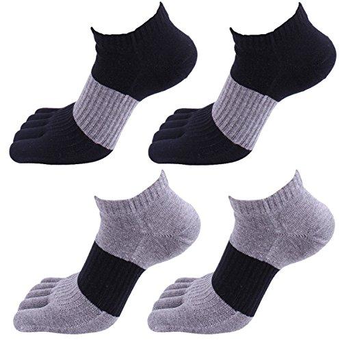 Panegy - Chaussettes Homme - Pack de 4 - Coton - Confortable et Respiration - Taille 39/45 - Chaussettes à 5 orteil doigts séparés - 01