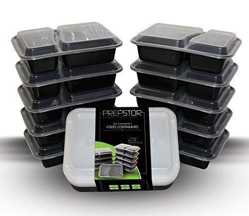 prepstor 2 Compartiment boîtes avec couvercles, Lunch Box/Bento, Assiette compartimentée. au congélateur, au micro-ondes, et passe au lave-vaisselle, anti-fuite, Lot de 10