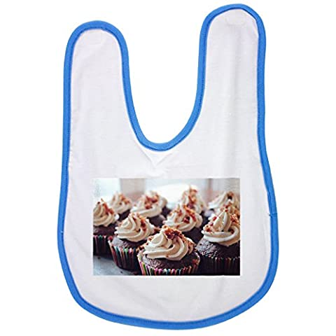 Blue baby bib with Cupcakes, Dessert, Frosting, Food,