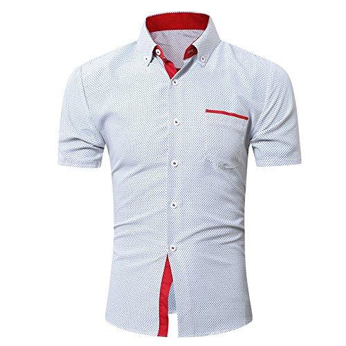 UJUNAOR Oktoberfest Männer Kurzarmhemd Business Slim T Shirt Punkt Bluse Top(Weiß,CN 4XL)