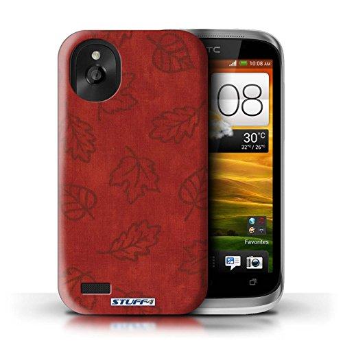 Kobalt® Imprimé Etui / Coque pour HTC Desire X / Rouge conception / Série Motif Feuille/Effet Textile Rouge