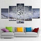 jqnxww Lienzo Cartel de la Pintura para la Sala de Estar Moderna 5 Panel Om Símbolo Buda...
