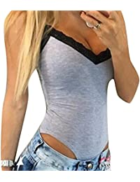 Femmes Stretch Body sans manches Top Ladies V-cou justaucorps Bodycon Rompers Jumpsuit Highdas