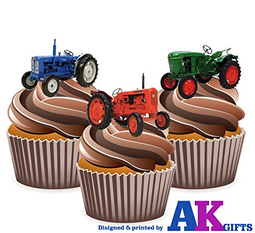 Price comparison product image Vintage Tractor Cake Decorations - Edible Cup Cake Toppers (Pack of 12)