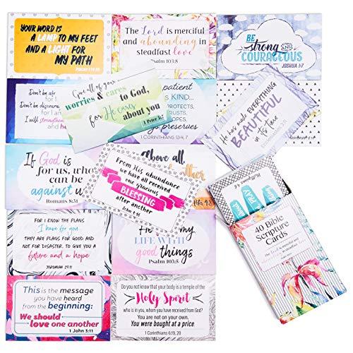 Christian Scripture Note Karten-40Designs, Bibel Vers Zitate, religiöse Nachricht Karten für den täglichen Christian Inspiration, kommt mit eine weitere Karte Halter, 8,4x 5,3cm (Store-gruß-karten)