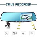 Lychee Full DH 1080P 10,9cm TFT Dual Objektiv Reverse Spiegel Backup Auto Kamera mit 170Grad Weitwinkel-Objektiv, Nachtsicht, unterstützt 32GB, Bewegungserkennung, G-Sensor, Fahrzeug Blackbox DVR