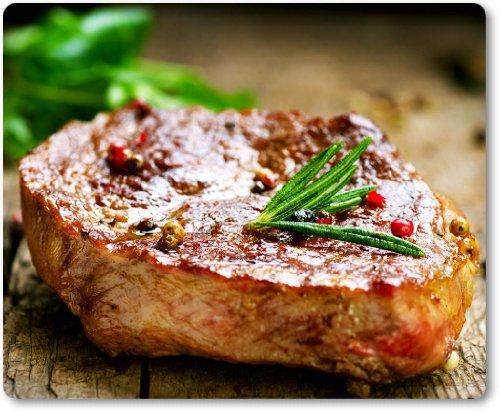 517mnrQVQOL - Mauspad / Mouse Pad aus Textil mit Rückseite aus Kautschuk rutschfest für alle Maustypen Motiv: Saftiges Steak mit Kräutern [05]