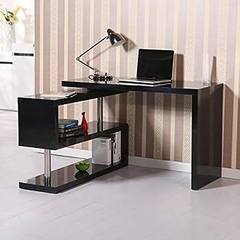 Eckschreibtisch schwarz weiß  Homcom 831-012 Computertisch Eckschreibtisch Winkelschreibtisch ...