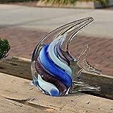 ZXZMONG Skulpturen,Statue,Deko,Kreative Hauptdekoration des Glasfisches, F