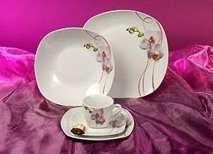 square orchidee dekor tafelservice 12 teilig neu eckig porzellan geschirr set 6 personen amazon. Black Bedroom Furniture Sets. Home Design Ideas