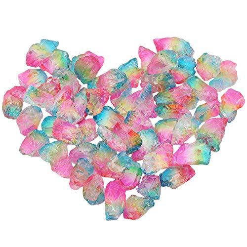 mookaitedecor Titanium Überzogen Raw Natur Kristallen Quarz Dekorative Steine,Rocks für Home Decor, Draht Verpackung, Polieren, Basteln, Reiki Ca. 230 Grams (Große Raw-kristalle)