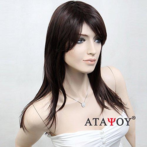(ATAYOU®Lange Gerade Schwarze Perücken - Natürliche und Modische Perücken für Frauen Täglichen Gebrauch und Kostüm, Tochwertige Synthetische Perücken mit 1 Freie Perücke Kappe)