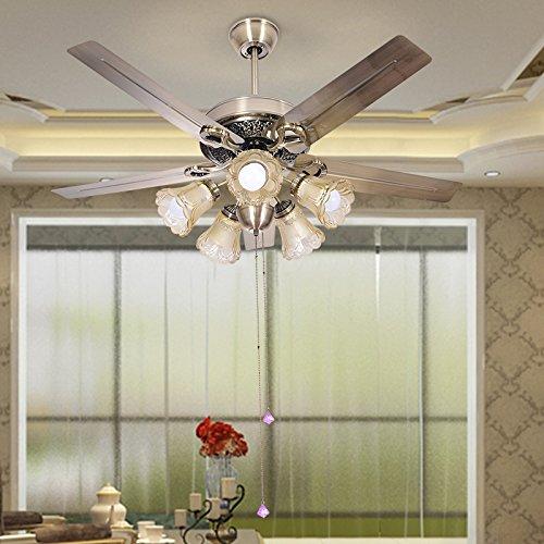 LED di ferro in legno Pala ventilatore da soffitto Lampada LED per Foyer camera da letto,52pollici lama in legno