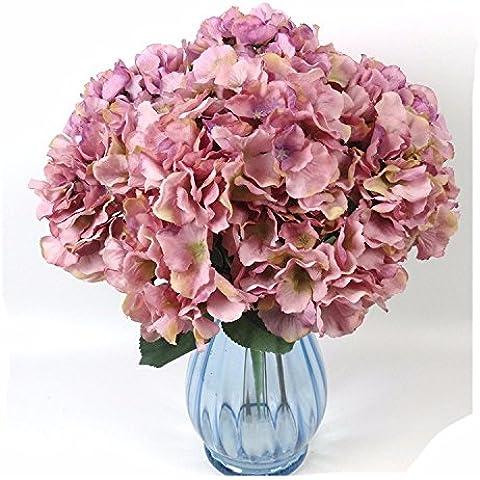 MQZM-Pintura al Óleo simulación simulación de RAMO DE FLOR ARTIFICIAL hydrangea Hydrangea Las flores de seda flores artificiales,Blanca,12