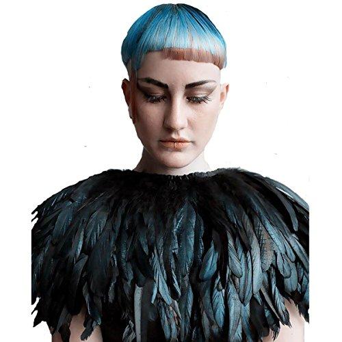 TOOKY Black Green Feather Hecho a mano Collar Cape Shawls Wrap para el vestido de noche del partido