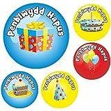 90 Welsh Happy Birthday Reward Stickers