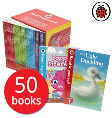 Read it Yourself with Ladybird Collection 50 Books Box Set Pack (Level 1, 2, 3, 4)including moshi monster, peppa pig, charlie and lola, Wizards of Oz, Topsy and Tim, Cinderella, Harry and the dinosaurs united, Heidi, Snow white and the seven dwarfs
