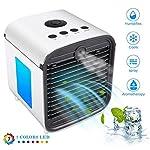 Mobile Klimaanlage Mini Air Cooler Luftkühler Luftbefeuchter Luftreiniger Stummschaltung mit 7 Farben LED-Leuchten für…