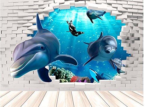 Wand Papier veröffentlicht die gesamte 3D-Effekte dolphin Tapete Wohnzimmer Hintergrund Plakate Unterwasserwelt Kinder Zimmer vom Bett 60 * 96 cm veröffentlicht