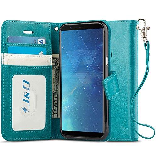 OnePlus 5T Hülle, J&D [RFID Blocking Standfuß] [Slim Fit] Robust Stoßfest Aufklappbar Tasche Hülle für OnePlus 5T - Türkis